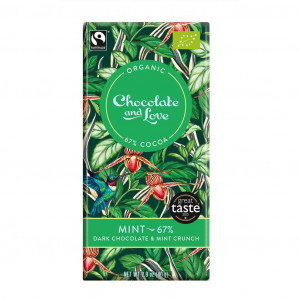 Chocolate & Love Mint 67% Organic, Fairly Traded Vorderseite