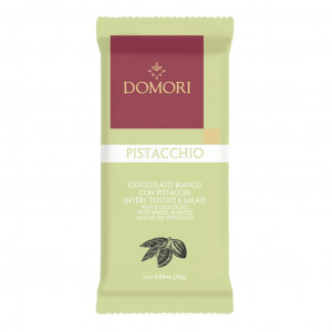 Domori Pistacchio white chocolate with whole, roasted and salted pistachios Vorderseite