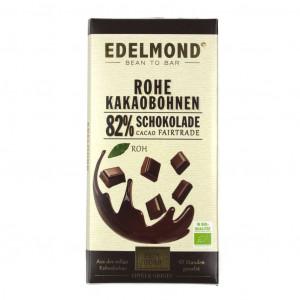 Edelmond Rohe Schokolade 82% Vorderseite