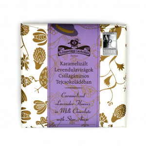 Rózsavölgyi Csokoládé Caramelised Lavender Flowers in Milk Chocolate with Star Anis Vorderseite