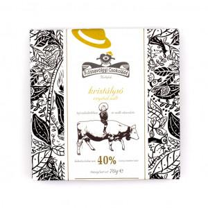 Rózsavölgyi Csokoládé Crystal Salt in Milk Chocolate 40% Vorderseite