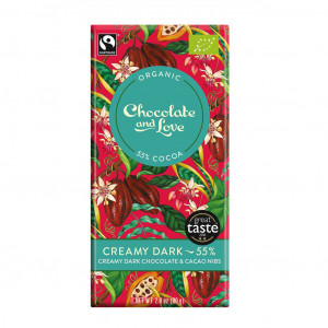 Chocolate & Love Creamy Dark 55% Organic, Fair Trade Vorderseite