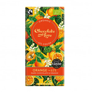 Chocolate & Love Orange 65% Organic, Fair Trade Vorderseite