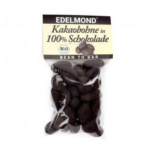 Edelmond Kakaobohne in 100% Schokolade Vorderseite