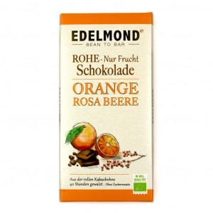 Edelmond Orange und Rosa Beere Rohe Schokolade Vorderseite
