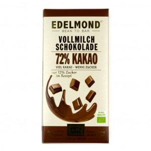 Edelmond Extra dunkle Milchschokolade 72% Vorderseite