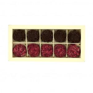 Nelleulla Himbeere-Mascarpone und Zartbitterschokolade Trüffelschachtel