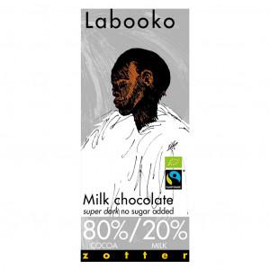 Zotter Labooko Milchschokolade super dark ohne Zuckerzugabe Vorderseite