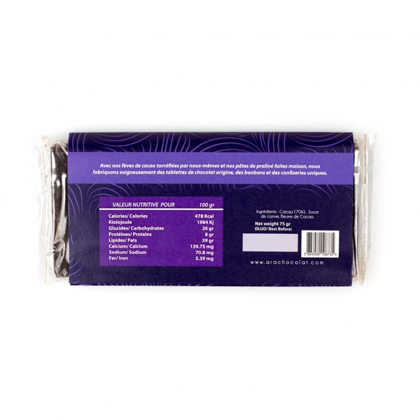 Ara Chocolat Agua Fria 70% Rückseite