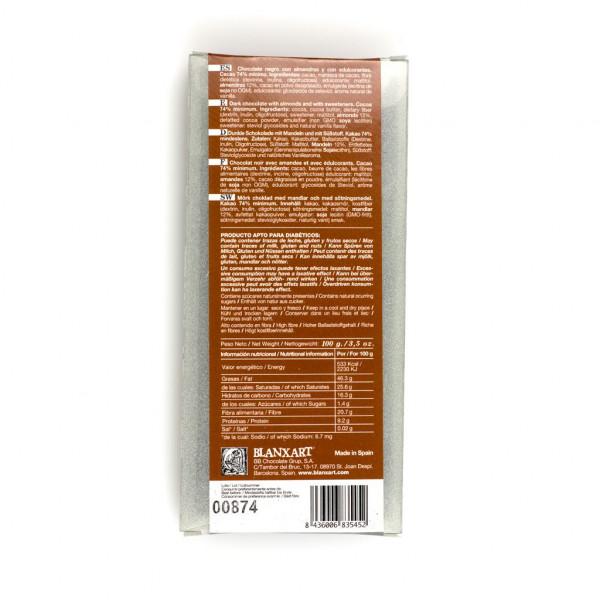 Blanxart Cuídate Chocolate Negro con Almendras y con Edulcorantes 74% Rückseite