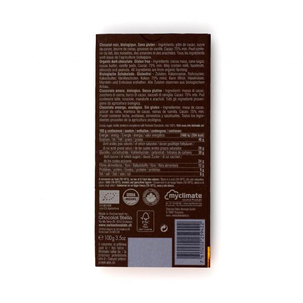 Chocolat Stella Dark 75% Rückseite