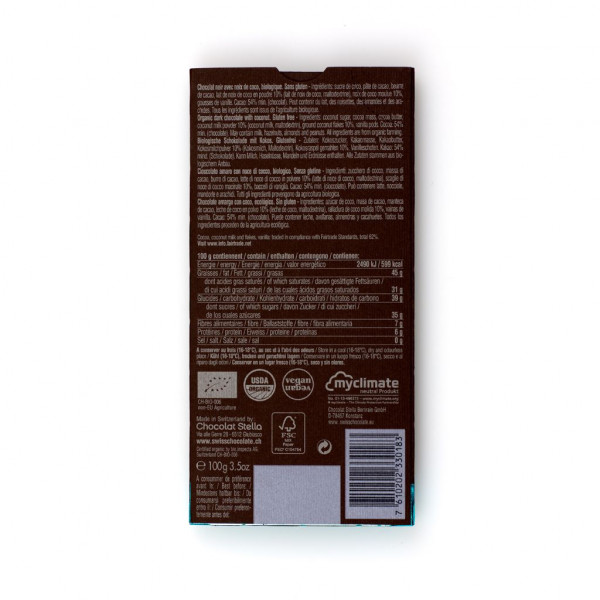 Chocolat Stella Coconut Nectar 54% Rückseite