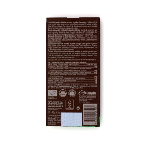 Chocolat Stella Dark Baobab Fruit 60% Rückseite