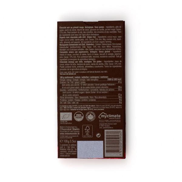 Chocolat Stella Dark with Chili 72% Rückseite