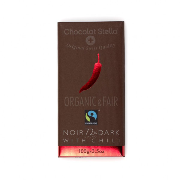 Chocolat Stella Dark with Chili 72% Vorderseite