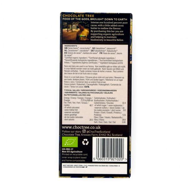 Chocolate Tree Belize Black 100% Rückseite