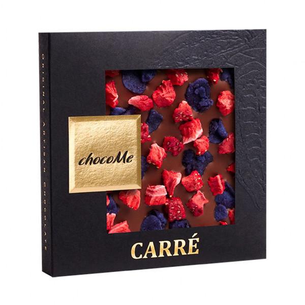 ChocoMe Carré Erdbeere, Veilchen 40% Vorderseite