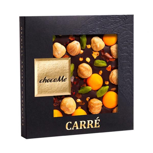 ChocoMe Carré Haselnuss, Pistazien, Chili und Schokoladentropfen 66% Vorderseite