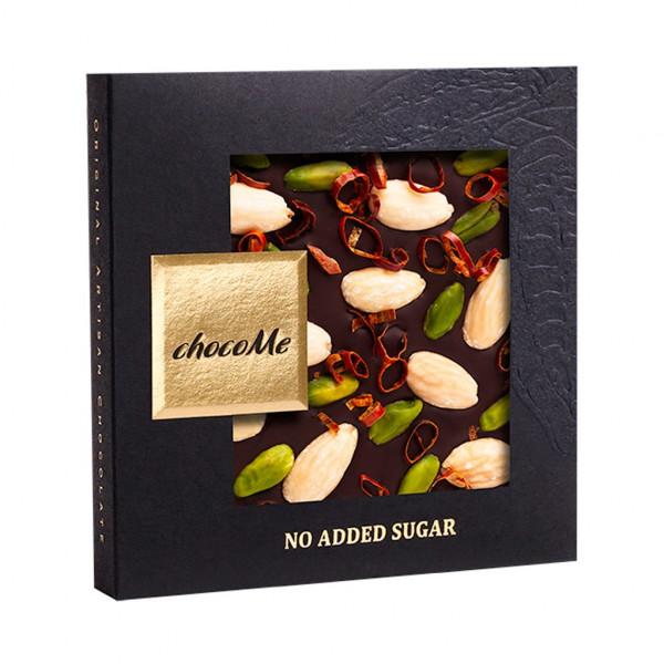 ChocoMe Mandeln, Pistazien, Chili und Süßstoff 53,9% Vorderseite