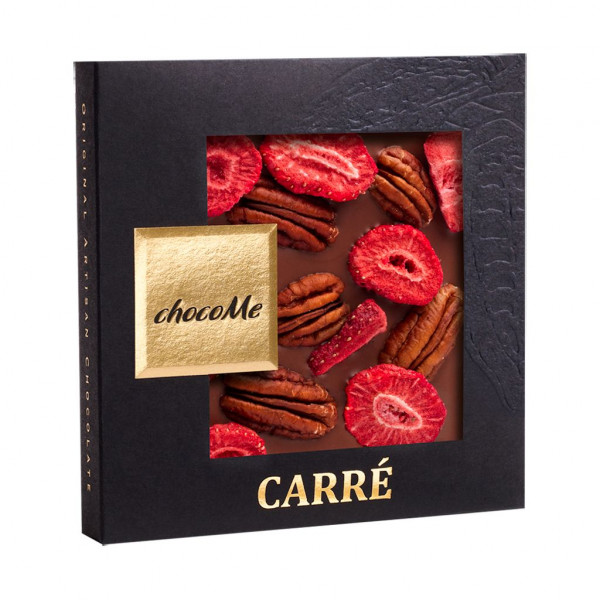 ChocoMe Carré Pecannüsse Erdbeere Vorderseite
