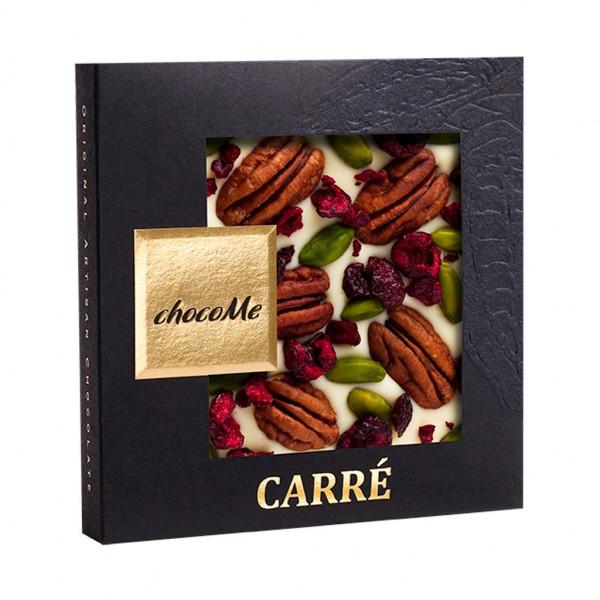 ChocoMe Carré Pecannüsse, gefriergetrocknete Sauerkirsch-Stücke, Pistazien aus Bronte Vorderseite