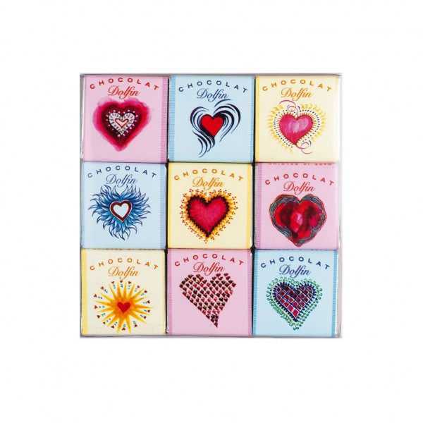 Dolfin Love 9 assorted chocolate squares Innere