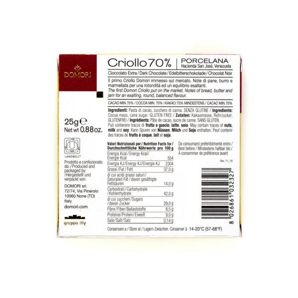 Domori Porcelana Cacao Criollo  Rückseite