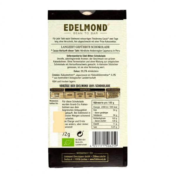 Edelmond Criollo Roh und nicht Fermentiert 100% Rückseite