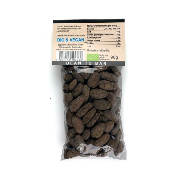 Edelmond geröstete Bio Kakaobohnen Rückseite
