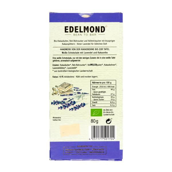 Edelmond weiße Schokolade Lavendel und Kakaonibs Rückseite
