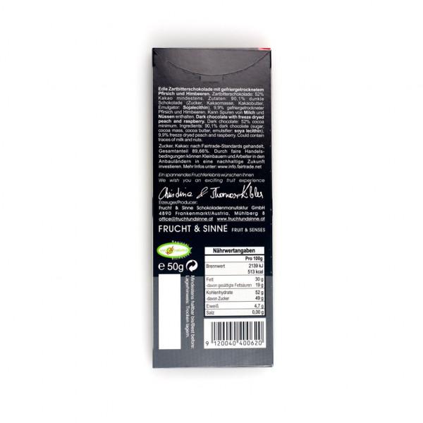 Frucht & Sinne Dunkle Pfirsich-Himbeere 52% Rückseite