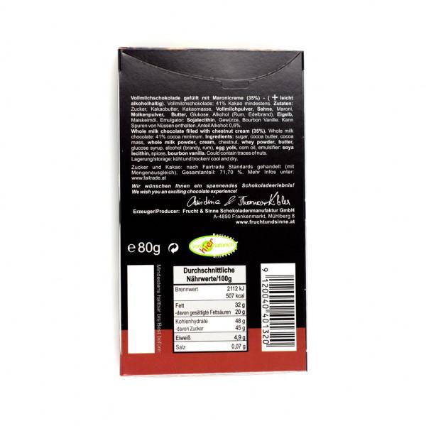 Frucht & Sinne Gefüllte Schokolade Maroni Vollmilch 41% Rückseite