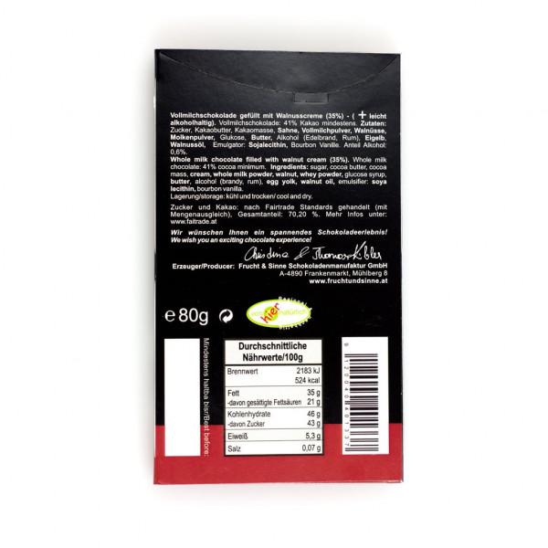 Frucht & Sinne Gefüllte Schokolade Walnusscreme Vollmilch 41% Rückseite