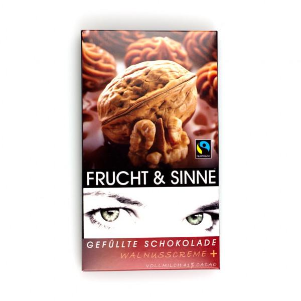 Frucht & Sinne Gefüllte Schokolade Walnusscreme Vollmilch 41% Vorderseite