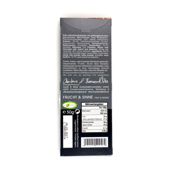 Frucht & Sinne Vollmilch Walnuss-Pistazie 42% Rückseite
