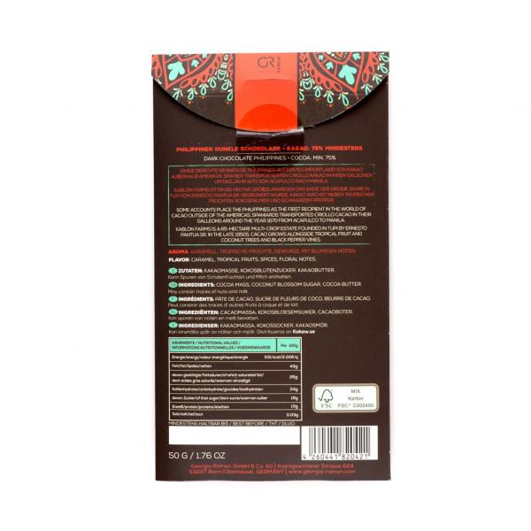 Georgia Ramon Philippinen Kokosblütenzucker 75% Rückseite
