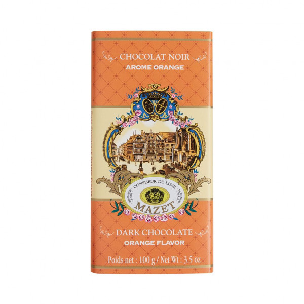 Mazet Confiseur Chocolat Noir Arome Orange 64% Vorderseite