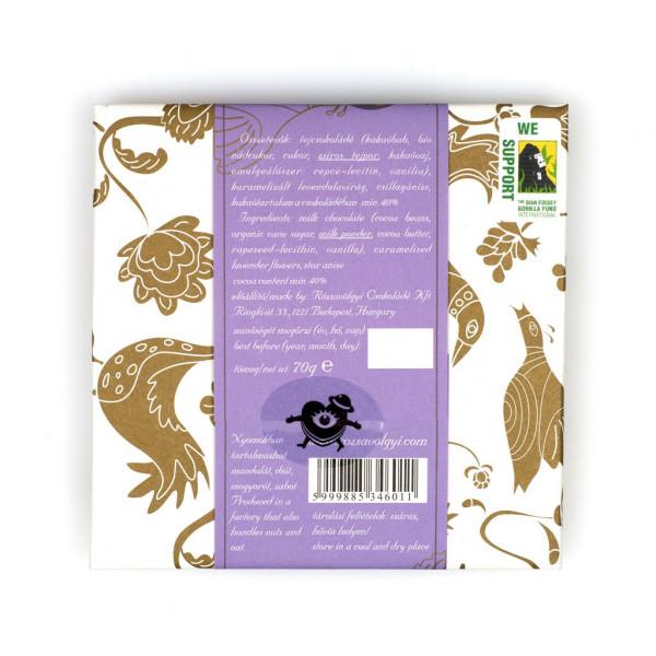 Rózsavölgyi Csokoládé Caramelised Lavender Flowers in Milk Chocolate with Star Anis Rückseite