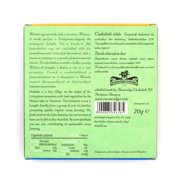Rózsavölgyi Csokoládé Mababu Tanzania 75% Rückseite