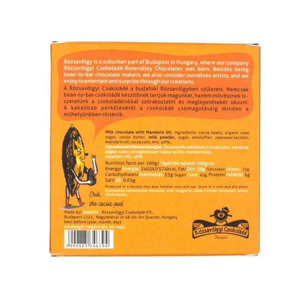 Rózsavölgyi Csokoládé Mandarinöl und geröstete Vanille Rückseite
