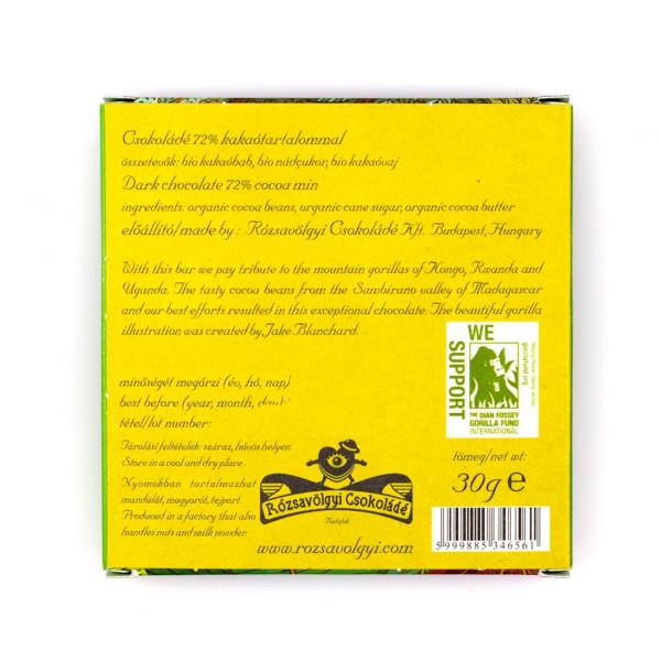 Rózsavölgyi Csokoládé Small Gorilla Chocolate 72% Rückseite