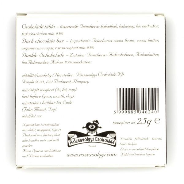 Rózsavölgyi Csokoládé Trincheras 95% Rückseite