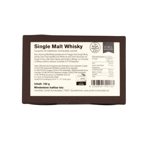 Schell Schokoladen Single Malt Whisky 70% Rückseite