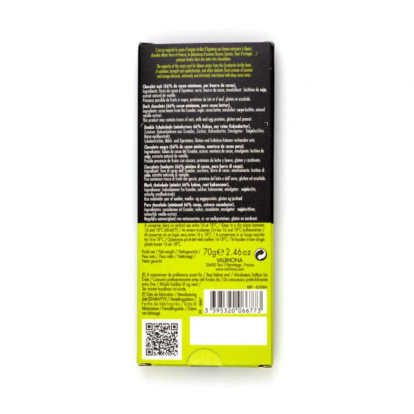 Valrhona Noir Alpaco 66% Rückseite